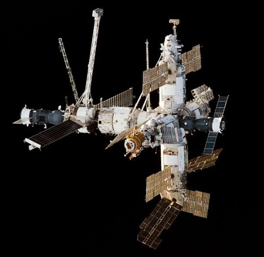 Approach view of the Mir Space Station viewed from Space Shuttle Endeavour during the STS-89 rendezvous. A Progress cargo ship is attached on the left, a Soyuz manned spacecraft attached on the right. Image ID: STS089-340-035