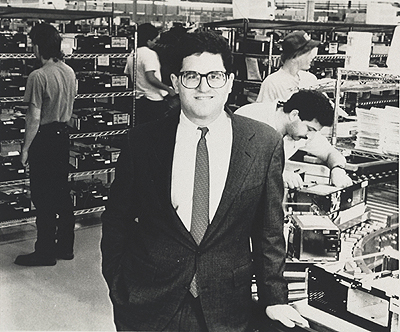 Michael Dell at Dell Computers' production facility in Austin, 1989. Age 24,