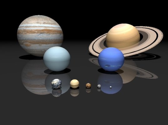 Back Row: Jupiter, Saturn Middle Row: Uranus, Neptune Front Row: Earth, Venus, Mars, Mercury, Pluto
