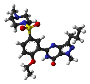 Model of the sildeanfil molecule, based on a the crystal structure of sildenafil citrate monohydrate