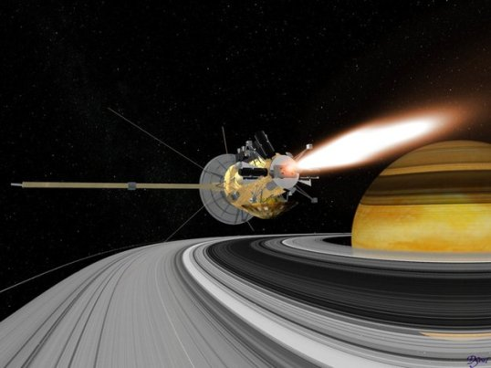 Computer-rendered image of Cassini-Huygens during the Saturn Orbit Insertion (SOI) manoeuvre