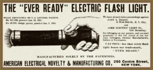 1899 Ever ready flashlight print ad framed