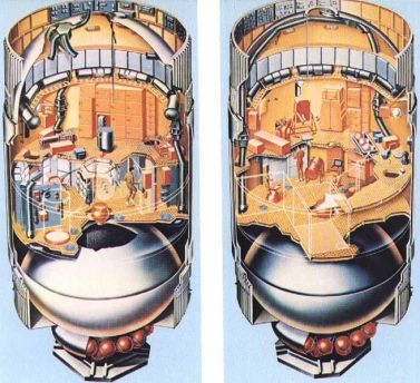 Two cutaway views of the orbital workshop showing details of the living and working quarters