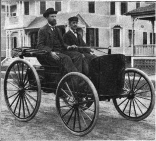 Photo of Charles (left) and J.F. Duryea in the 1894 Duryea gasoline car