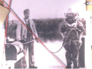 Photo of Valerios Stais in diving suit in 1902