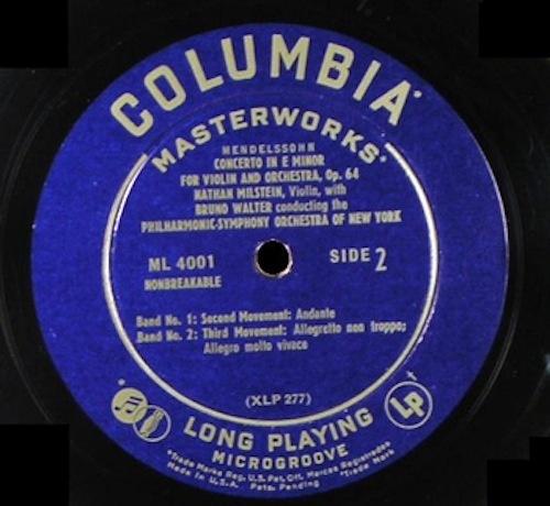 First LP:  Nathan Milstein performing Mendelssohn