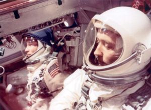 Astronaut James McDivitt (right) in the Gemini IV capsule along with Astronaut Ed White.