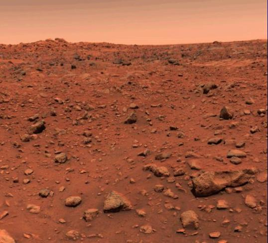 This color picture of Mars was taken July 21, 1976 the day following Viking l's successful landing on the planet. The local time on Mars is approximately noon