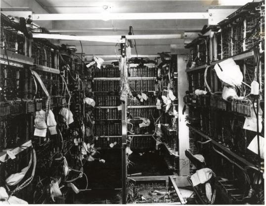 This picture shows the inside of the UNIVAC frame during assembly