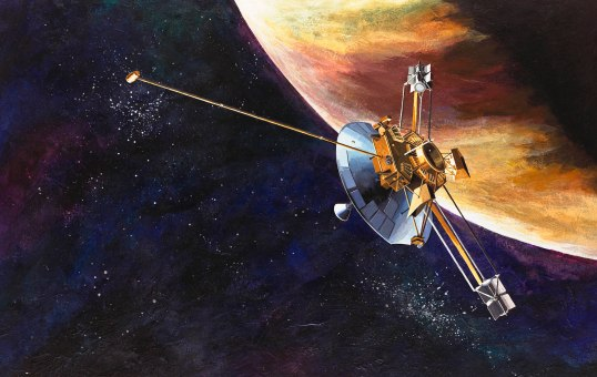 An artist's depiction of Pioneer 10 approaching Jupiter