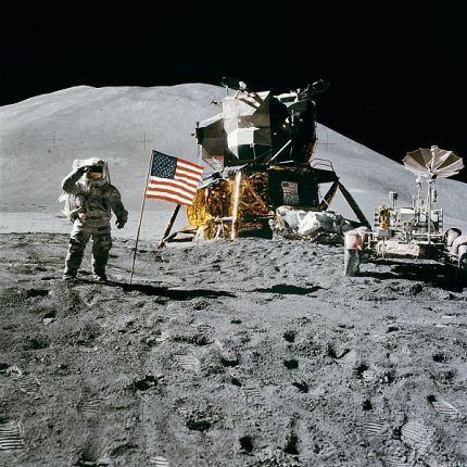 James Irwin salutes the United States flag on the Moon on August 1, 1971