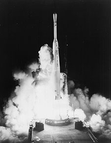 A Thor/Delta 316 launches with the Telstar 1 satellite from Cape Canaveral
