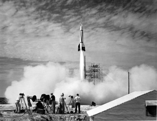 A new chapter in space flight began in July 1950 with the launch of the first rocket from Cape Canaveral, Florida: the Bumper 8. Shown above. Bumper 8 was an ambitious two-stage rocket program that topped a V-2 missile base with a WAC Corporal rocket. The upper stage was able to reach then-record altitudes of almost 400 kilometers, higher than even modern Space Shuttles fly today.  Launched under the direction of the General Electric Company, the Bumper Project was used primarily for testing rocket systems and for research on the upper atmosphere.  Bumper rockets carried small payloads that allowed them to measure attributes including air temperature and cosmic ray impacts.