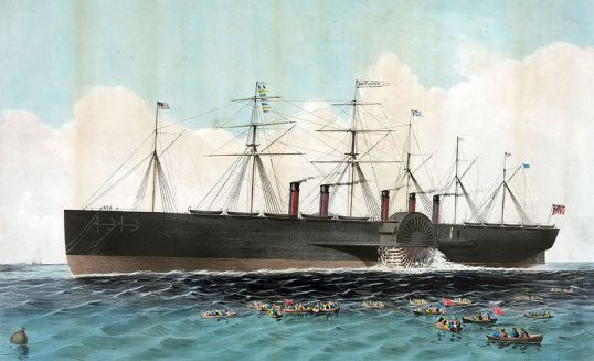 Hand-colored lithograph of the SS Great Eastern
