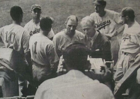 Red Barber does an interview with Dodgers manager Leo Durocher on camera before the first televised major league game on Aug. 26, 1939