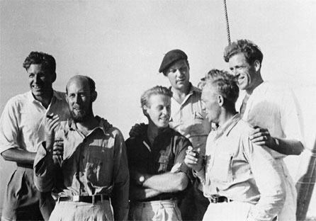 The six men who made up the crew were: Thor Heyerdahl, leader of the expedition; Herman Watzinger, in charge of meteorological and technical research; Knut Haugland and Torstein Raaby, both wireless operators, who maintained contact with radio amateurs; Erik Hesselberg, navigator, who plotted the drift of the raft; and the Swedish sociologist Bengt Danielson, who acted as steward.
