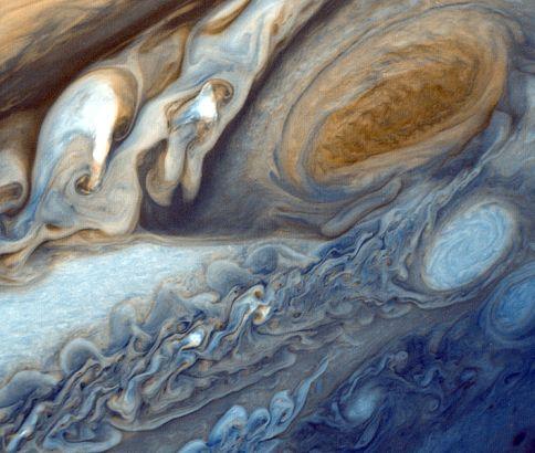 False color detail of Jupiter's atmosphere.
