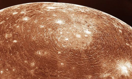 Valhalla crater on Callisto, one of Jupiter's moons, image taken by Voyager 1