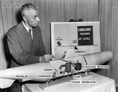 Engineer Hyman Rickover with Model of Nuclear Sub