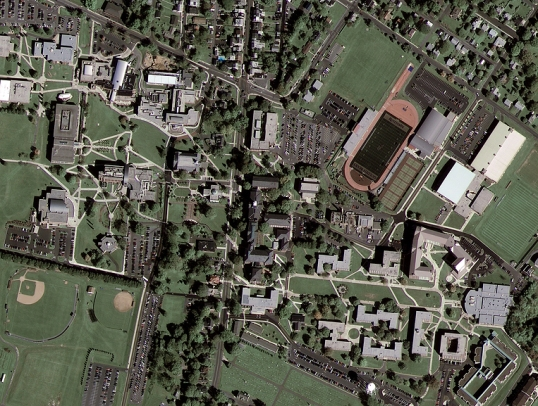 The first natural color satellite image collected by the GeoEye-1 was over Kutztown University in Pennsylvania. The resolution of the satellite image is 0.50 meter