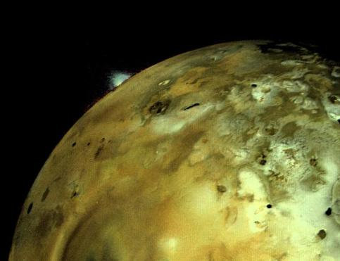 Volcanic explosion on Jupiter's moon IO: Voyager 1 acquired this image on March 4 about 11 hours before closest approach to the Jupiter moon. An enormous volcanic explosion can be seen silhouetted against dark space over Io's bright limb