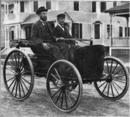 Charles (left) and J.F. Duryea in their 1894 Duryea gasoline car