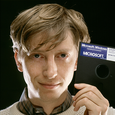 Bill Gates Holding Microsoft Windows 1.0 Disk