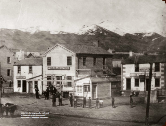 Telegraph office in Salt Lake City was located on the east side of Main Street, south of Temple Square.