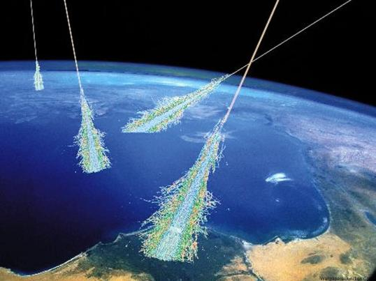 Artist concept of cosmic rays.