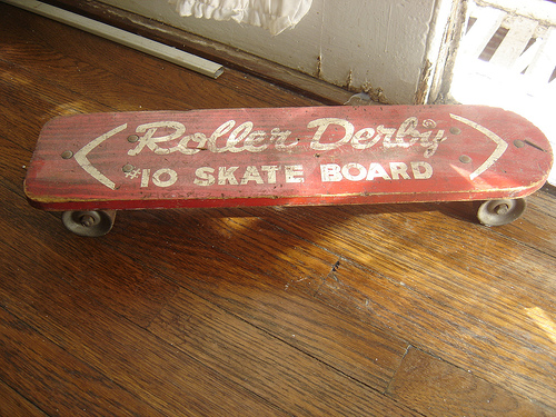 The first mass produced commercial skateboard. Basically a wooden plank with modified roller blade wheels on the underside. The wheels were made out of steel. The board had no concave, no kicks and no griptape. The wheels provided no grip on any surface and they were almost impossible to turn. It may look and be terrible but this was the basis for the skateboard of today.