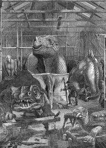 The 'dinosaur' models under construction at Benjamin Waterhouse Hawkins' studio in Sydenham.