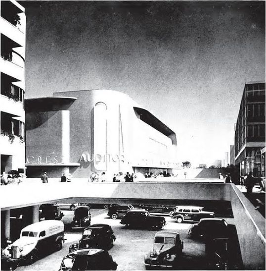 Detail of the Futurama exhibit at the New York World Fair 1939-40, showing a street intersection in the City of Tomorrow