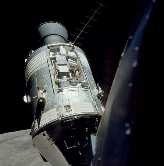 Apollo 17 SIM bay on the Service Module, seen from the Lunar Module in orbit around the Moon