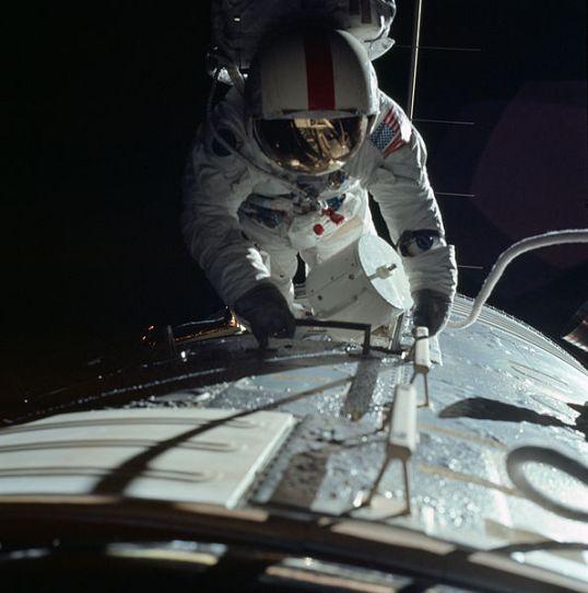 Apollo 17 astronaut Ronald Evans performs an extravehicular activity