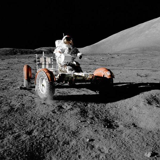 Gene Cernan aboard the Lunar Rover