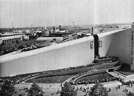 Bel Geddes designed the General Motors Pavilion, known as Futurama, for the 1939 New York World's Fair.