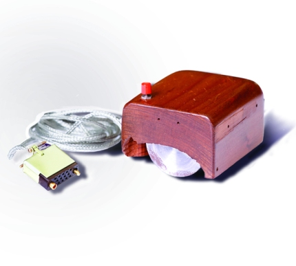 A prototype of a computer mouse, as designed by Bill English from Engelbart's sketches.