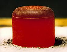 A glowing-hot plutonium pellet