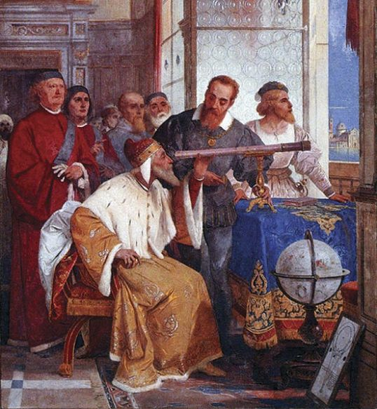 Galileo showing the Doge of Venice how to use the telescope (Fresco by Giuseppe Bertini)