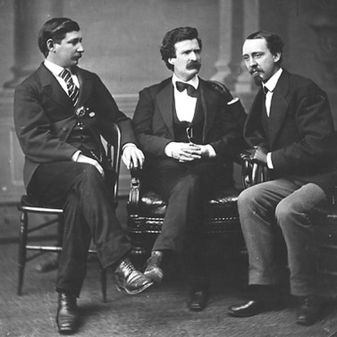 Mark Twain (center) with friends George Townsent and David Gray