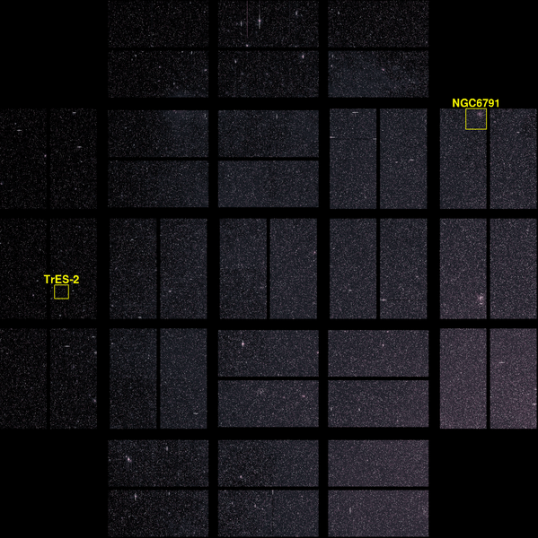 Detail of Kepler's image of the investigated area showing open star cluster NGC 6791 & TrES-2. Celestial north is towards the lower left corner.
