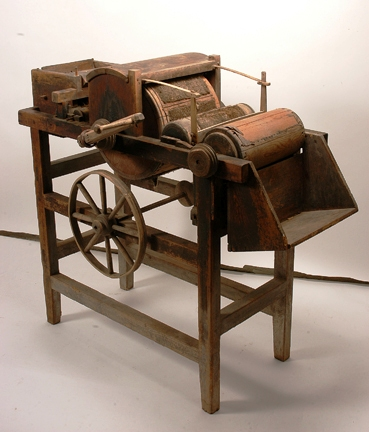 An original Eli Whitney cotton gin, all hand-carved and assembled wood and all original parts, is expected to bring between $25,000-$45,000 at auction.