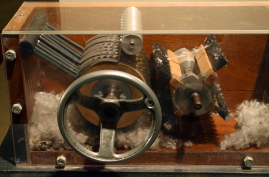 Cotton gin on display at the Eli Whitney Museum