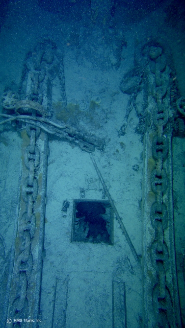 Titanic's bow anchor chains lying on the deck of the ship