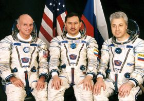 Tito, left and crew mates Talgat Musabayev, and Yuri Baturin