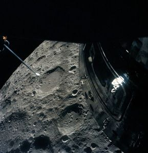 "The crew of Apollo 13 photographed the Moon from their Lunar Module ""life boat"" as they passed by it"