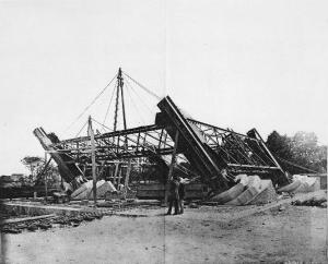 The start of the erection of the metalwork