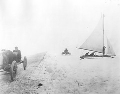 "Henry Ford driving the ""999"" Racer, Lake St. Clair, Michigan, January 1904"