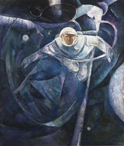 A painting by Alexei Leonov of his own spacewalk