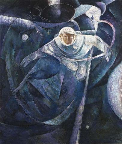 A painting by Alexei Leonov of his own spacewalk